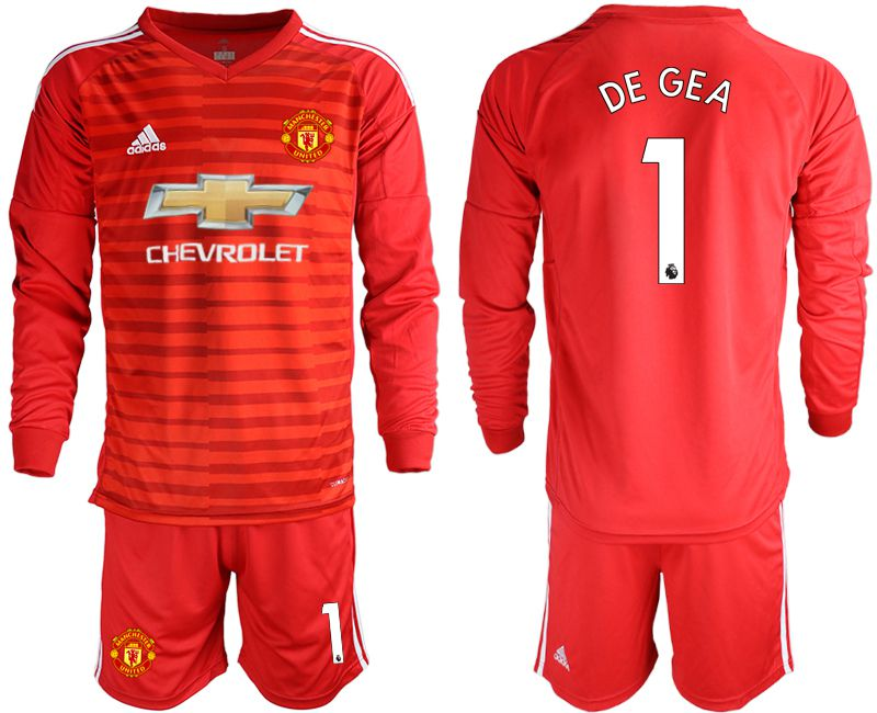 Men 2018-2019 club Manchester United red long sleeve 1 Soccer Jerseys