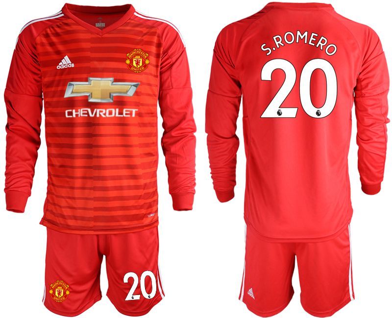 Men 2018-2019 club Manchester United red long sleeve 20 Soccer Jerseys