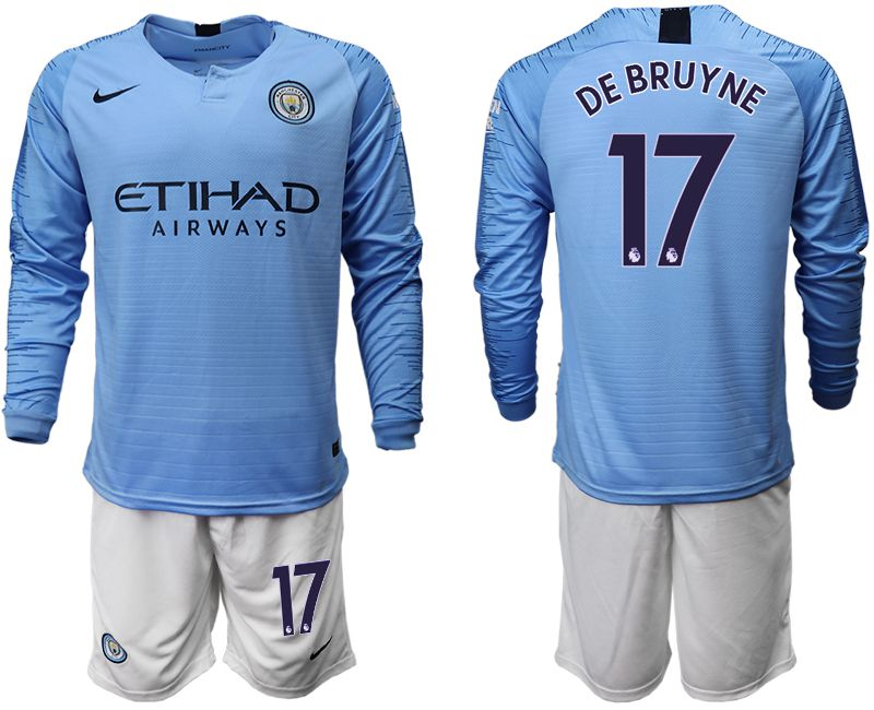 Men 2018-2019 club Manchester city away long sleeve 17 blue soccer jersey