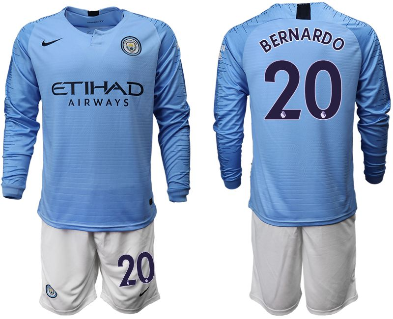 Men 2018-2019 club Manchester city away long sleeve 20 blue soccer jersey