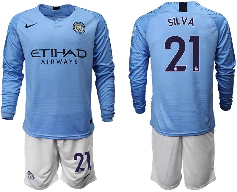 Men 2018-2019 club Manchester city away long sleeve 21 blue soccer jersey