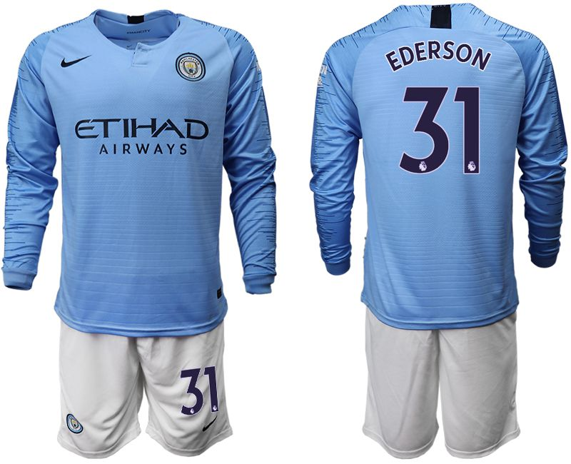 Men 2018-2019 club Manchester city away long sleeve 31 blue soccer jersey