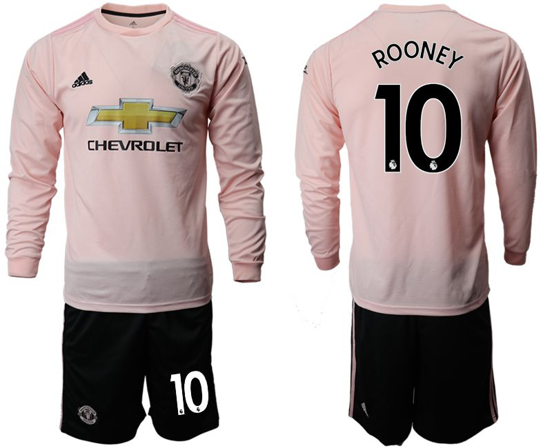Men 2018-2019 club Manchester united away long sleeve 10 pink Soccer Jerseys