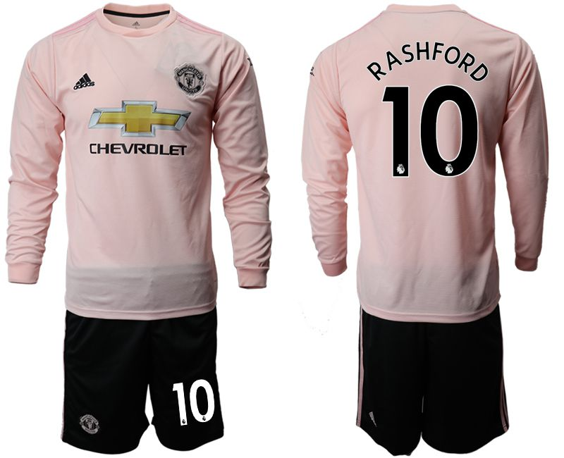 Men 2018-2019 club Manchester united away long sleeve 10 pink Soccer Jerseys1