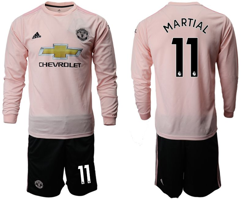 Men 2018-2019 club Manchester united away long sleeve 11 pink Soccer Jerseys