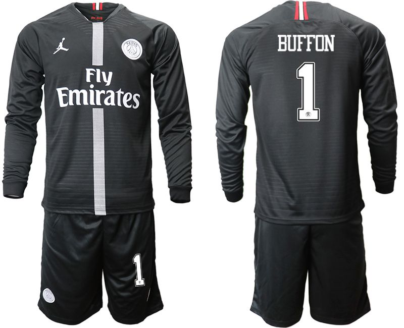 Men 2018-2019 club Paris Saint Germain Jordan home long sleeves 1 Soccer Jerseys