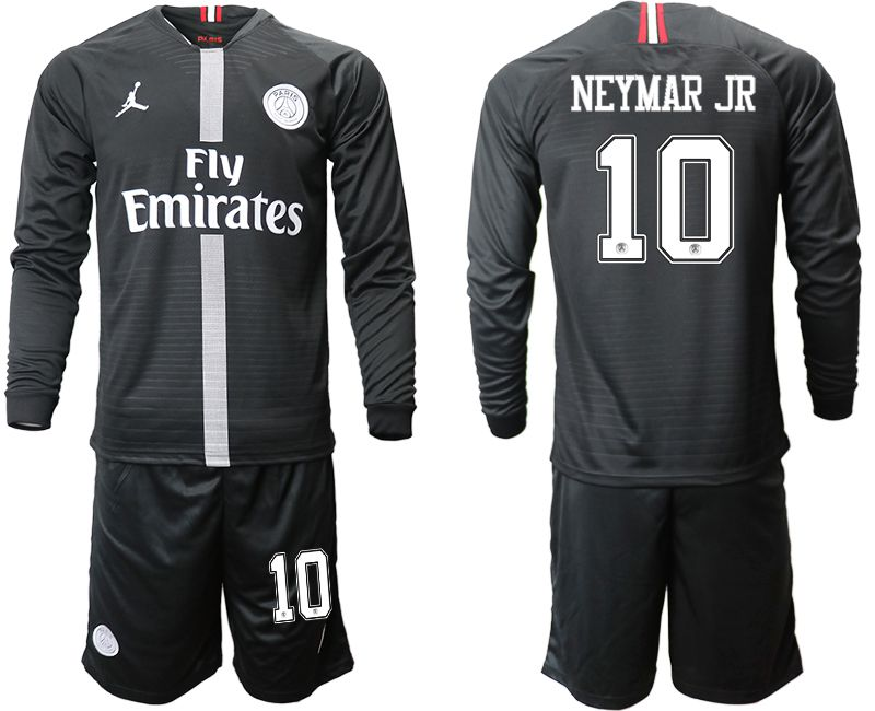 Men 2018-2019 club Paris Saint Germain Jordan home long sleeves 10 Soccer Jerseys