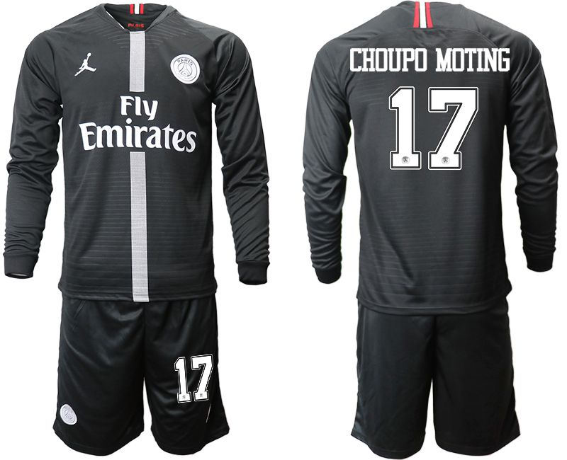 Men 2018-2019 club Paris Saint Germain Jordan home long sleeves 17 Soccer Jerseys