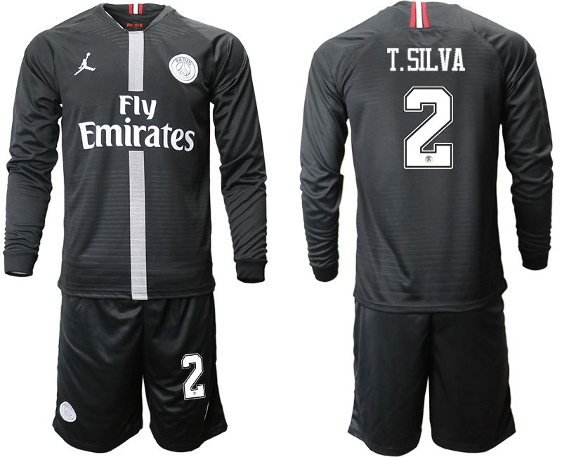 Men 2018-2019 club Paris Saint Germain Jordan home long sleeves 2 Soccer Jerseys