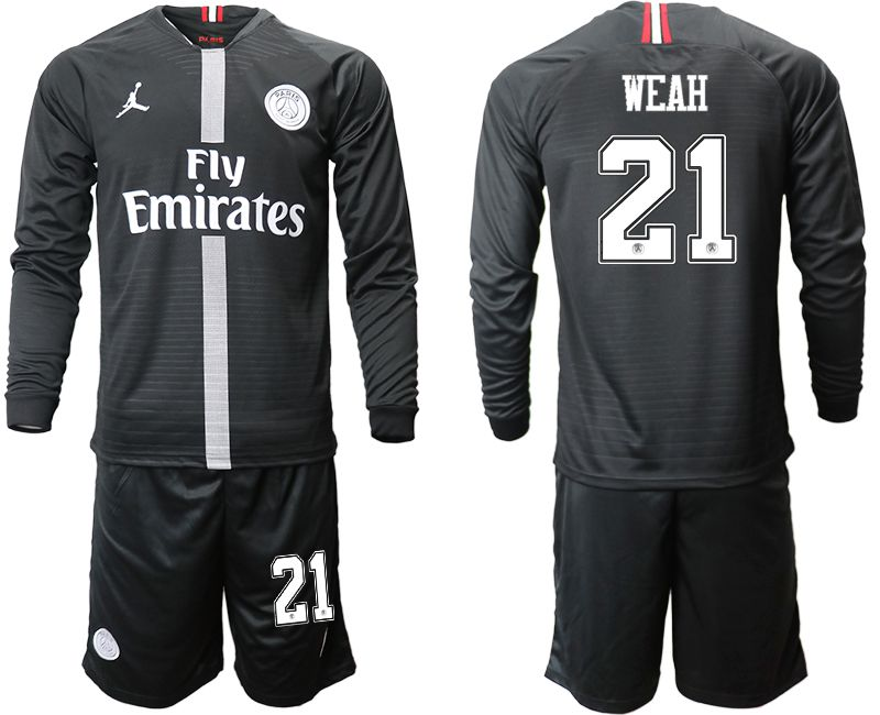 Men 2018-2019 club Paris Saint Germain Jordan home long sleeves 21 Soccer Jerseys
