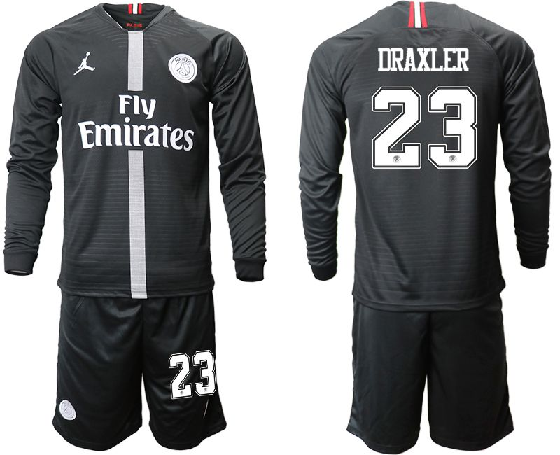 Men 2018-2019 club Paris Saint Germain Jordan home long sleeves 23 Soccer Jerseys