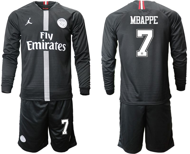 Men 2018-2019 club Paris Saint Germain Jordan home long sleeves 7 Soccer Jerseys