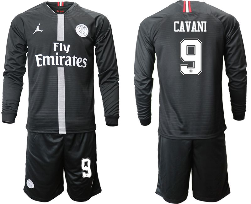 Men 2018-2019 club Paris Saint Germain Jordan home long sleeves 9 Soccer Jerseys