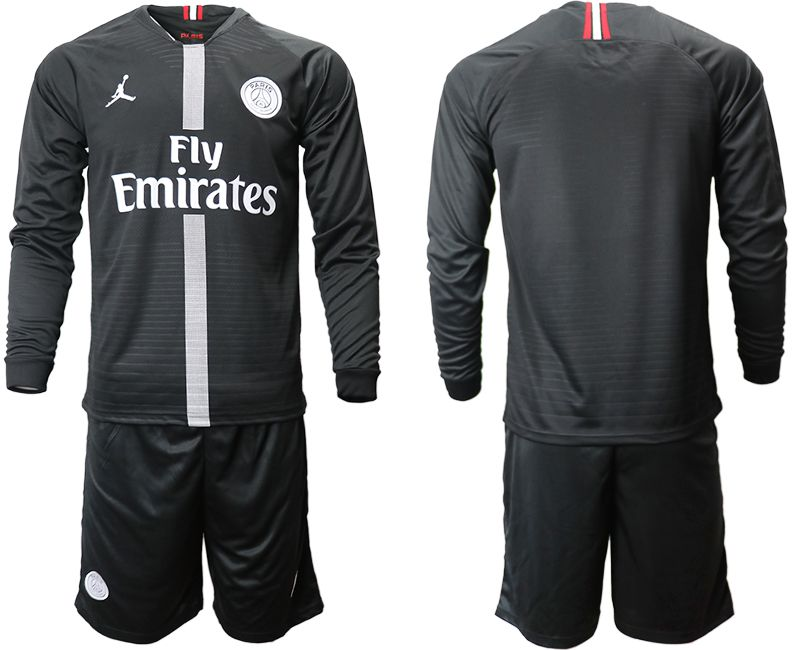 Men 2018-2019 club Paris Saint Germain Jordan home long sleeves Soccer Jerseys