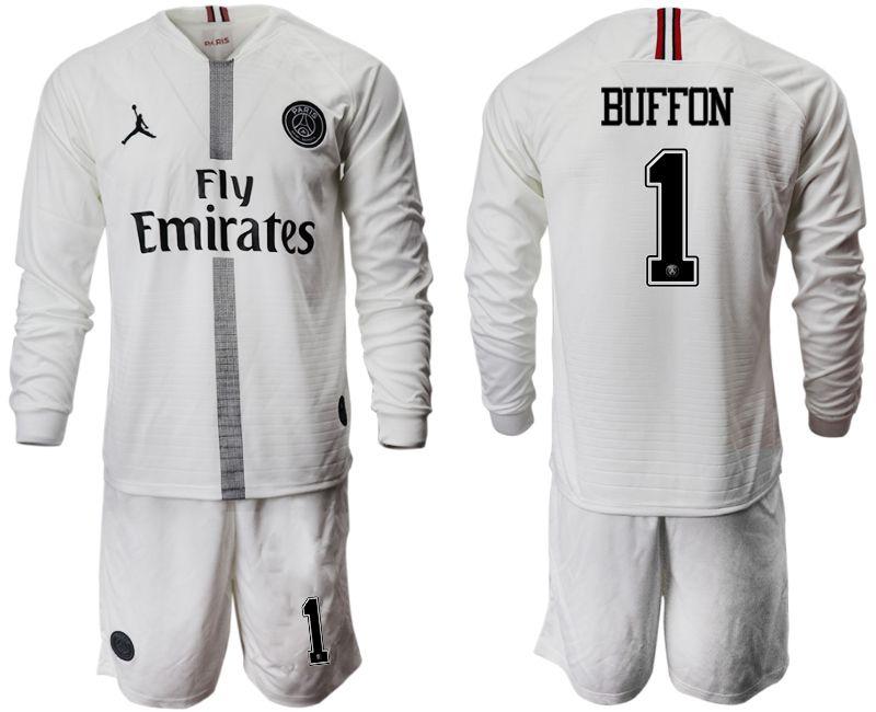 580c01c0d18 ... order men 2018 2019 club paris saint germain jordan white long sleeves 1  soccer jerseys cb4e3