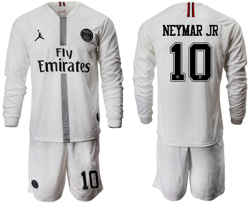 Men 2018-2019 club Paris Saint Germain Jordan white long sleeves 10 Soccer Jerseys