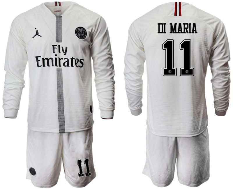Men 2018-2019 club Paris Saint Germain Jordan white long sleeves 11 Soccer Jerseys