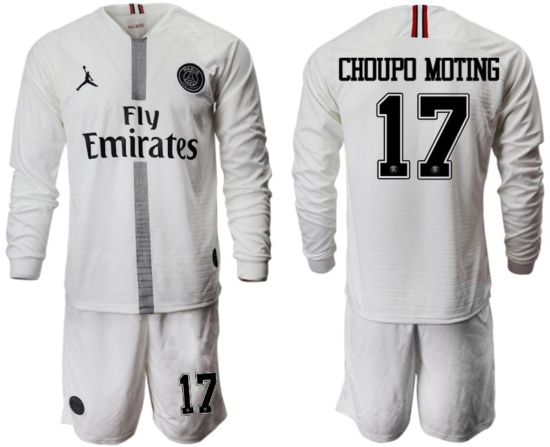 Men 2018-2019 club Paris Saint Germain Jordan white long sleeves 17 Soccer Jerseys