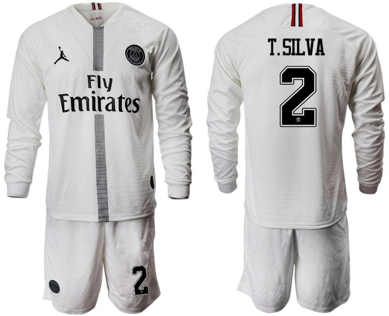 Men 2018-2019 club Paris Saint Germain Jordan white long sleeves 2 Soccer Jerseys