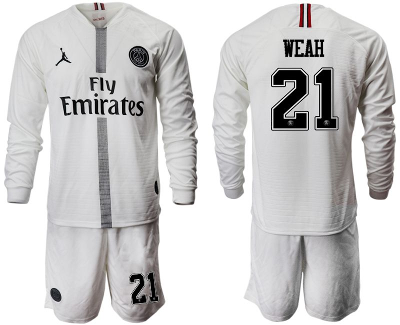 Men 2018-2019 club Paris Saint Germain Jordan white long sleeves 21 Soccer Jerseys
