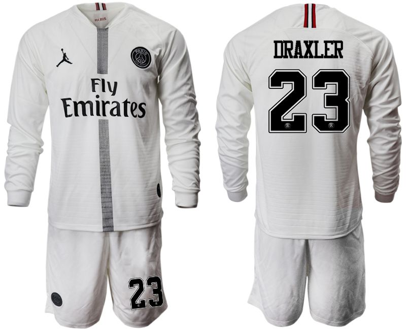 Men 2018-2019 club Paris Saint Germain Jordan white long sleeves 23 Soccer Jerseys