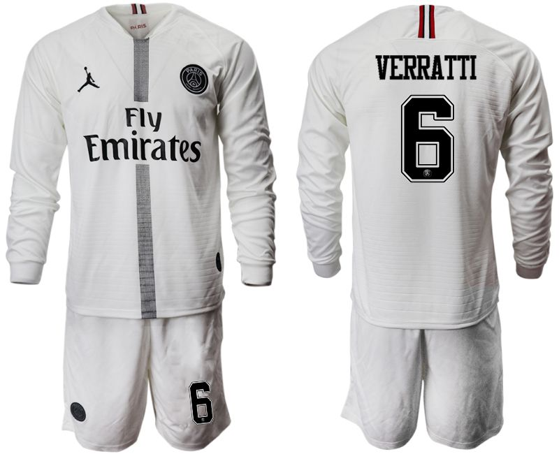 Men 2018-2019 club Paris Saint Germain Jordan white long sleeves 6 Soccer Jerseys