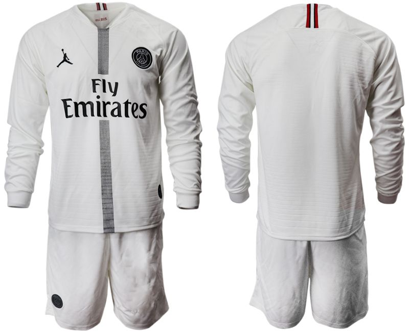 Men 2018-2019 club Paris Saint Germain Jordan white long sleeves Soccer Jerseys