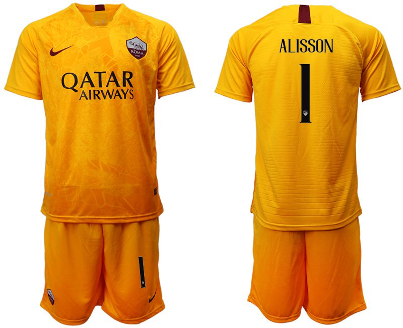 Men 2018-2019 club Rome Second away 1 yellow soccer jersey