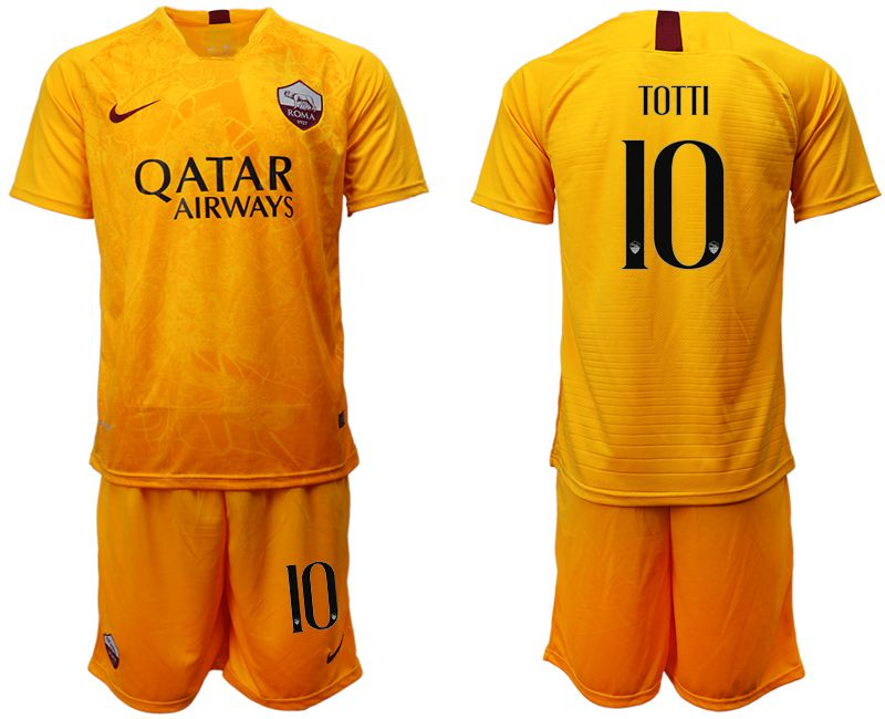 Men 2018-2019 club Rome Second away 10 yellow soccer jersey