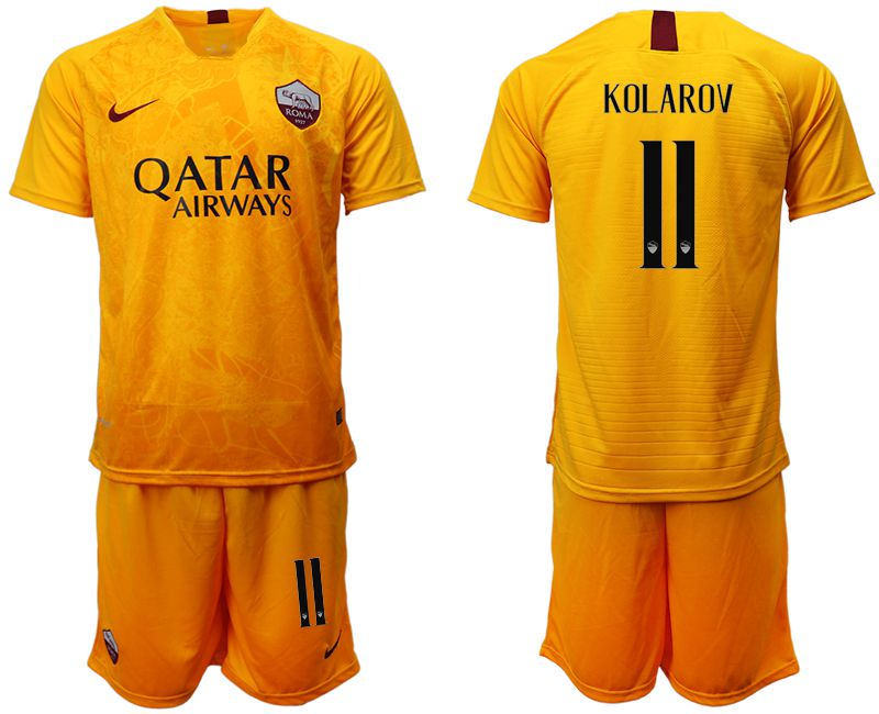 Men 2018-2019 club Rome Second away 11 yellow soccer jersey