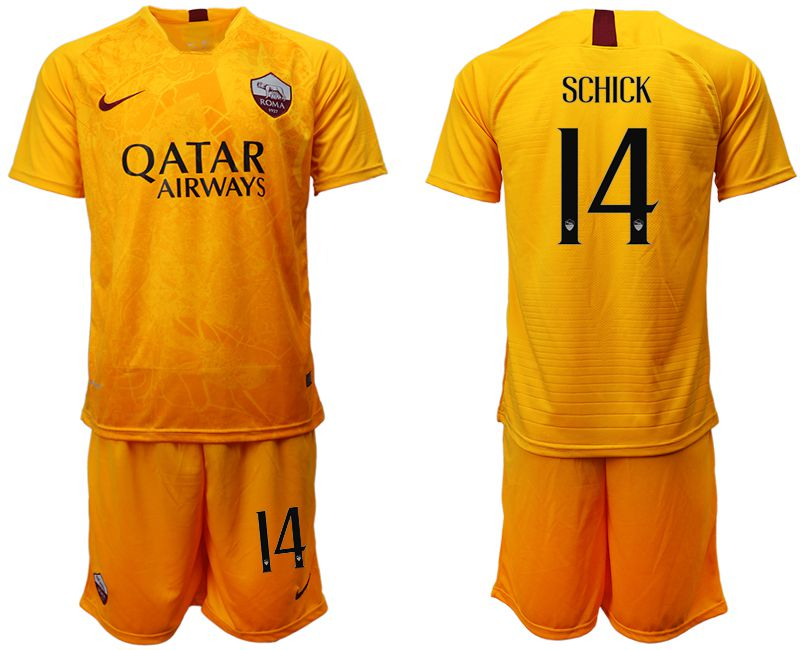 Men 2018-2019 club Rome Second away 14 yellow soccer jersey