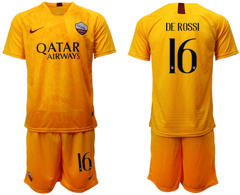 Men 2018-2019 club Rome Second away 16 yellow soccer jersey