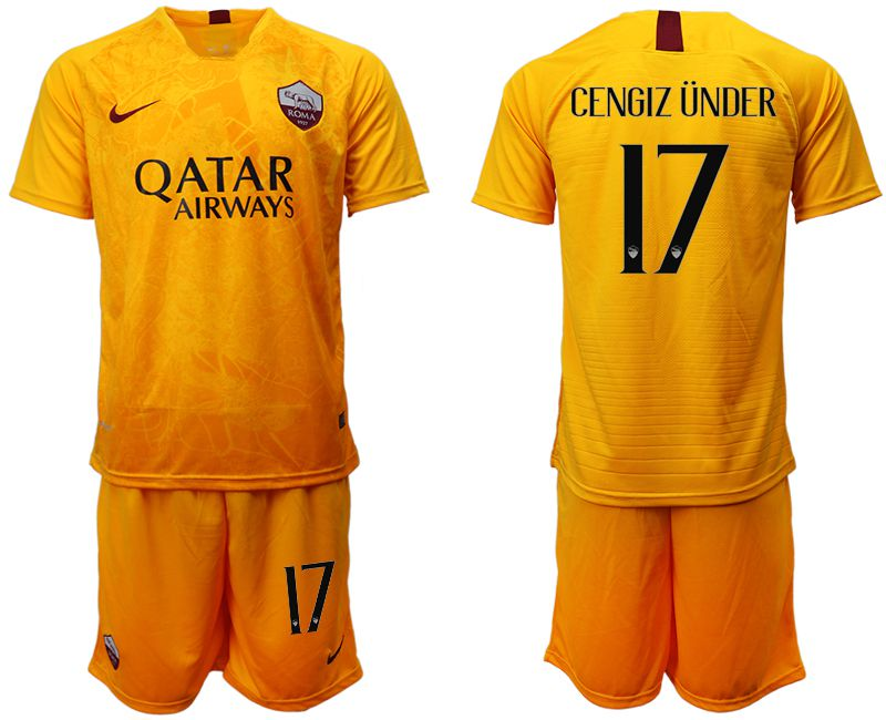 Men 2018-2019 club Rome Second away 17 yellow soccer jersey