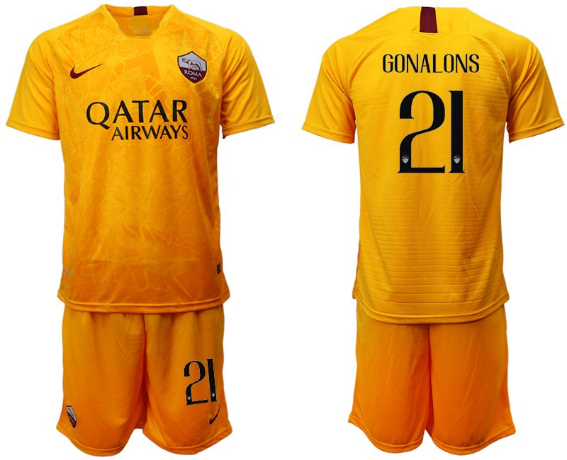 Men 2018-2019 club Rome Second away 21 yellow soccer jersey