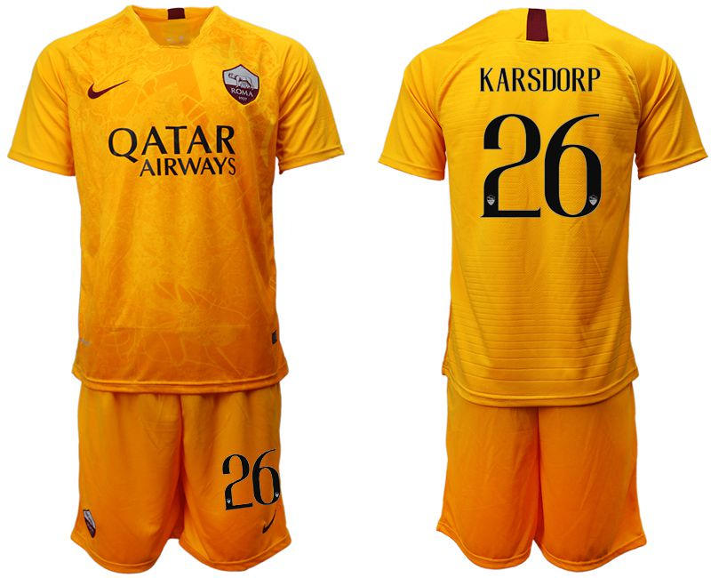 Men 2018-2019 club Rome Second away 26 yellow soccer jersey