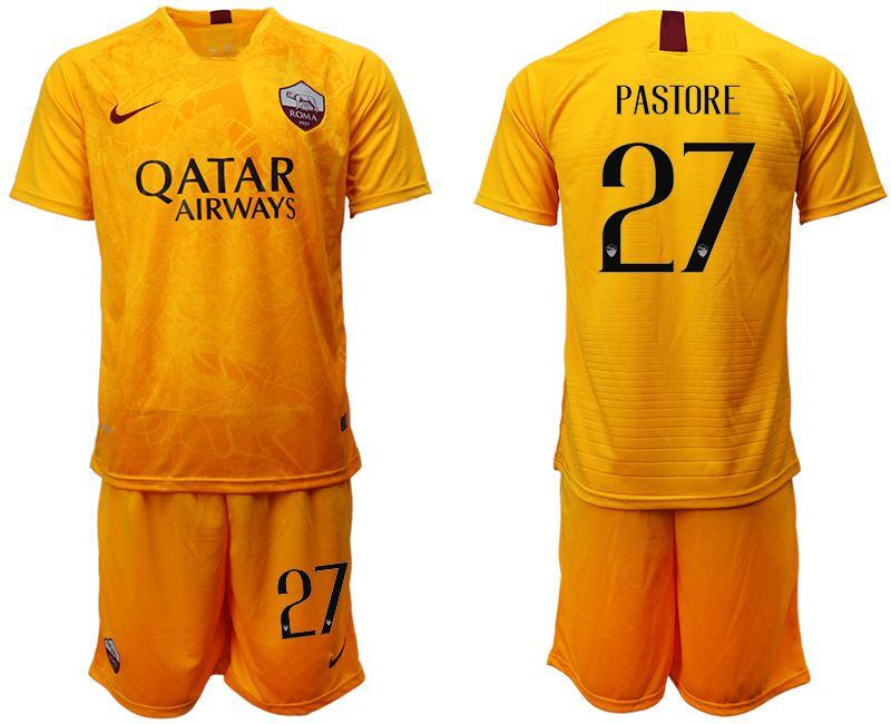 Men 2018-2019 club Rome Second away 27 yellow soccer jersey