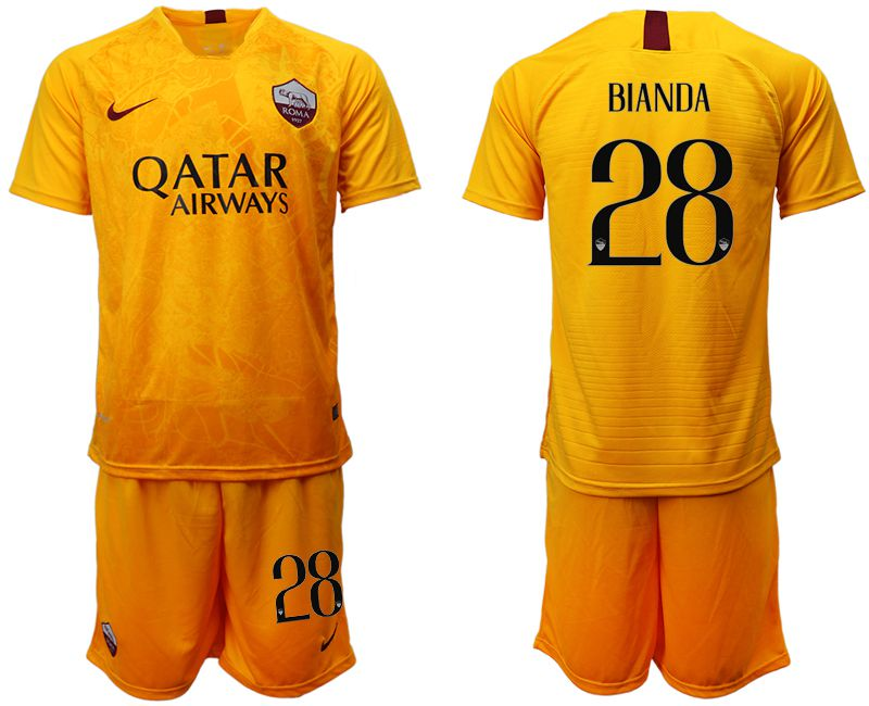 Men 2018-2019 club Rome Second away 28 yellow soccer jersey