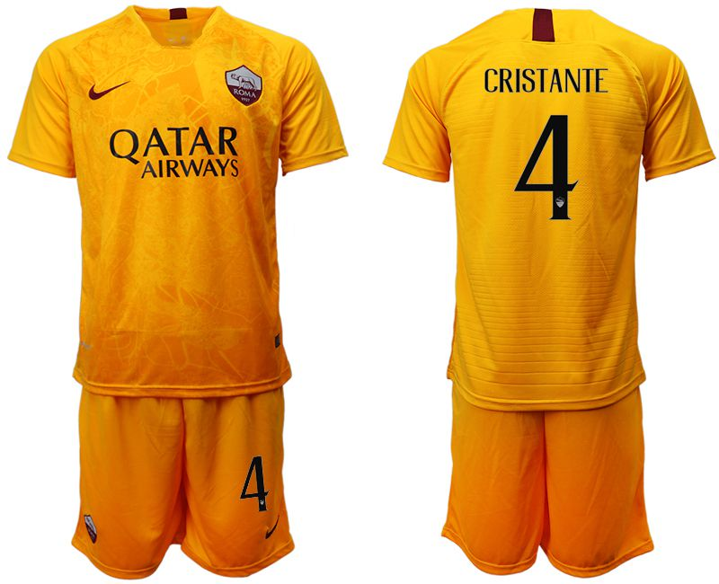 Men 2018-2019 club Rome Second away 4 yellow soccer jersey
