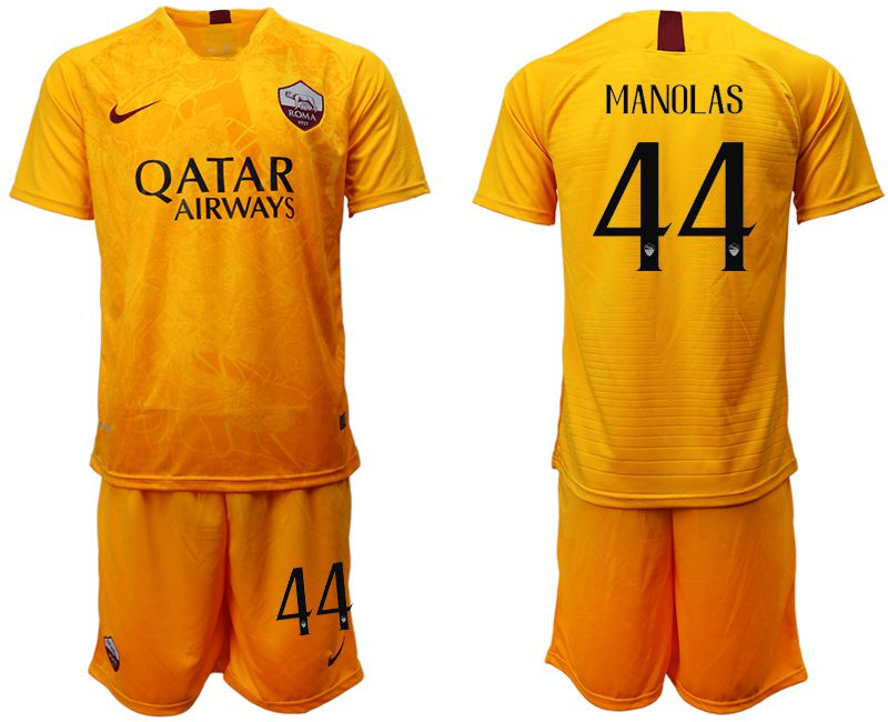 Men 2018-2019 club Rome Second away 44 yellow soccer jersey