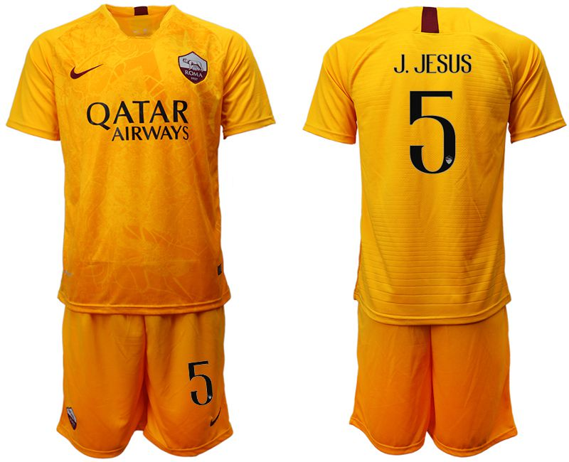 Men 2018-2019 club Rome Second away 5 yellow soccer jersey