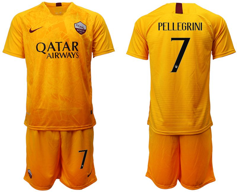 Men 2018-2019 club Rome Second away 7 yellow soccer jersey