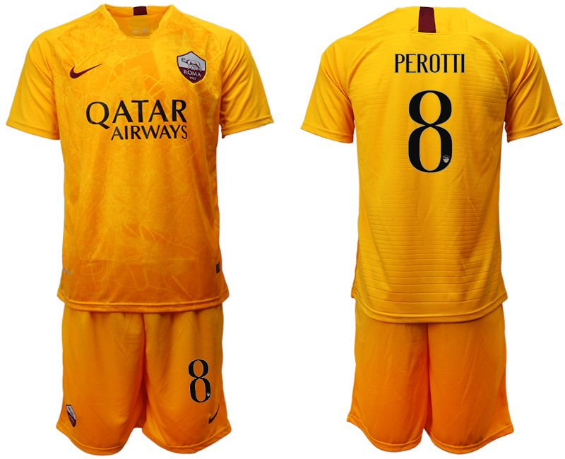 Men 2018-2019 club Rome Second away 8 yellow soccer jersey