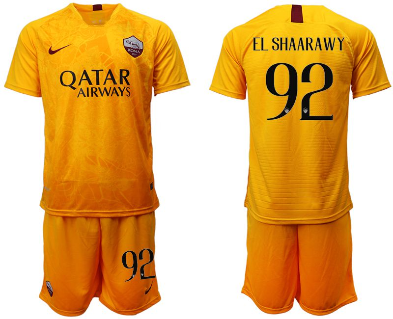 Men 2018-2019 club Rome Second away 92 yellow soccer jersey