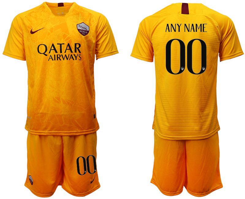 Men 2018-2019 club Rome Second away customized yellow soccer jersey