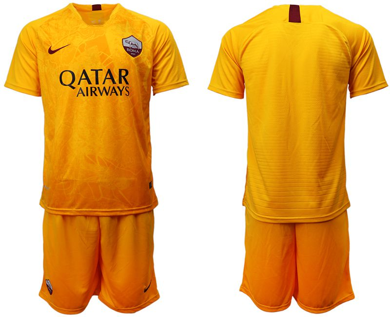 Men 2018-2019 club Rome Second away yellow soccer jersey