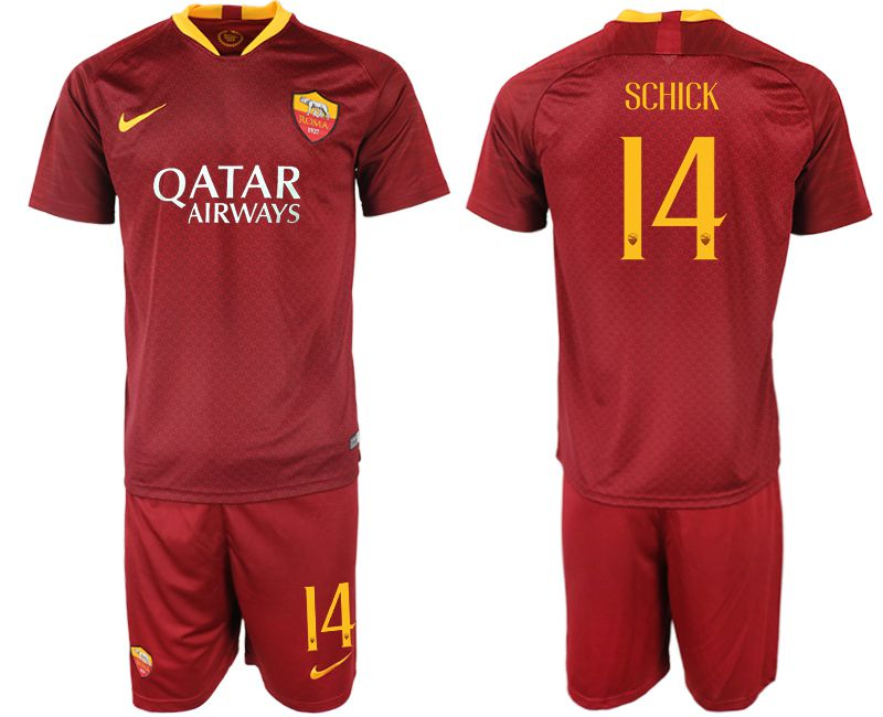 Men 2018-2019 club Rome home 14 red soccer jersey