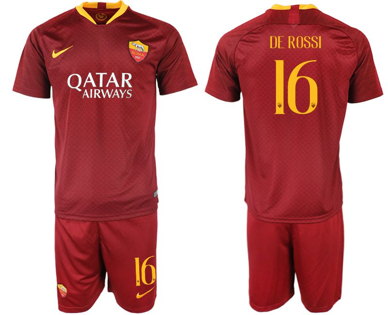 Men 2018-2019 club Rome home 16 red soccer jersey