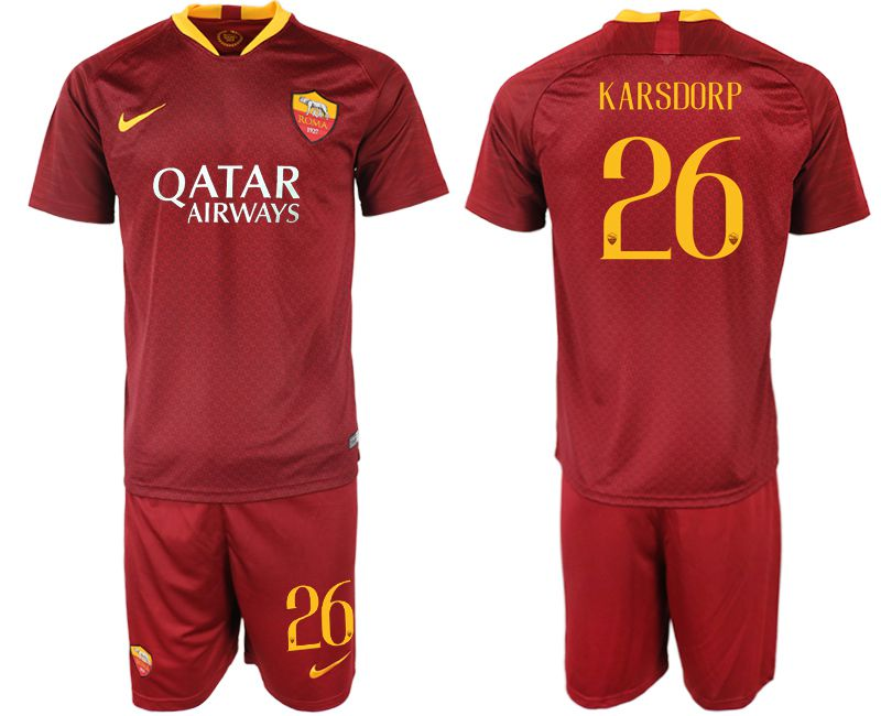 Men 2018-2019 club Rome home 26 red soccer jersey
