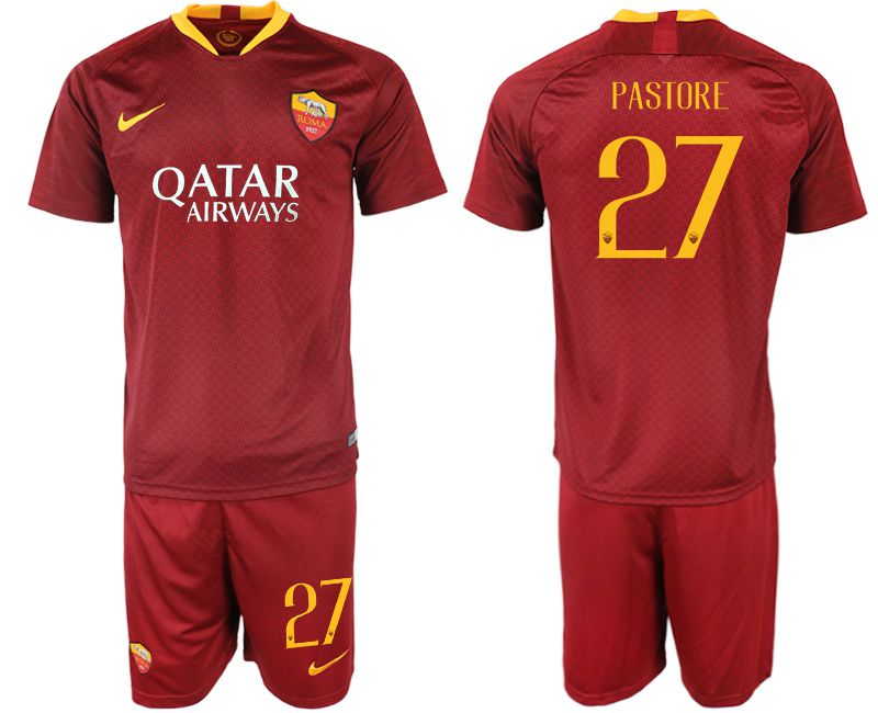 Men 2018-2019 club Rome home 27 red soccer jersey