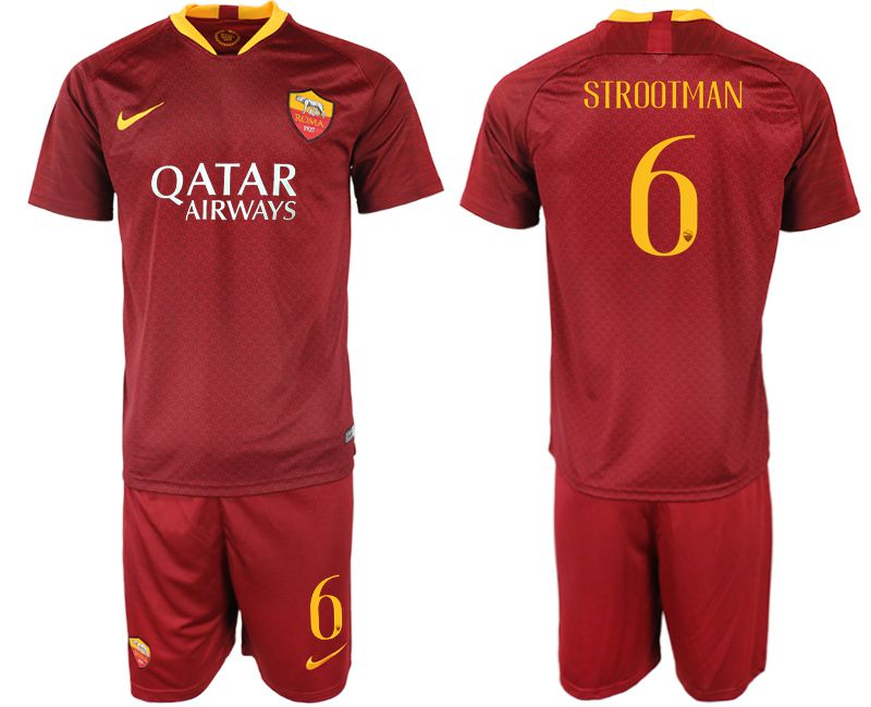 Men 2018-2019 club Rome home 6 red soccer jersey